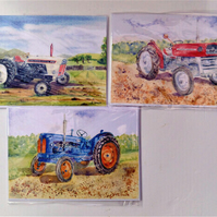 Tractor collection pack of 3 blank greetings cards from original watercolours
