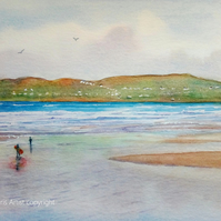 Banna Strand beach near Tralee County Kerry Ireland original watercolour