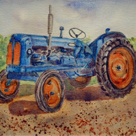 Fordson Major vintage tractor original watercolour painting