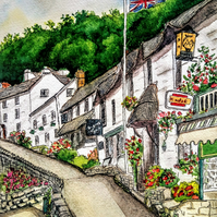 Original watercolour pen and wash painting of Mars Hill, Lynmouth, Devon