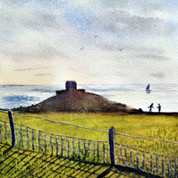 Small watercolour painting, Rame Head, Cornwall in the Late Afternoon