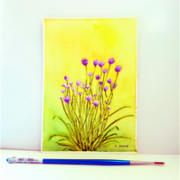 "Small watercolour painting, Flowering Garden Chives, still life 7"" x 5"""