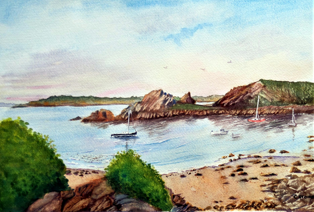 Original watercolour painting, St. Agnes, Isles of Scilly