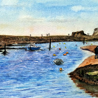 Original watercolour, the breakwater from Summerleaze Beach, Bude, Cornwall