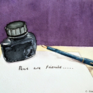 Still life watercolour painting of fountain pen and ink bottle Pens Are Friends