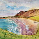 Original watercolour painting of  Rhossili Bay, Gower Peninsula, Wales