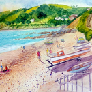 Original watercolour painting, On the Beach at Downderry, Cornwall