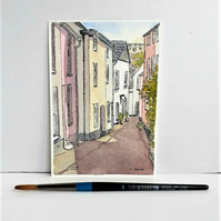 Small watercolour painting of Kingsand Cornwall pen and wash