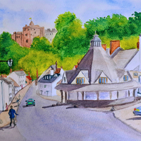 Original watercolour painting of Dunster Village, Somerset