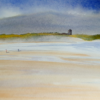 Original watercolour painting, Banna Strand Southern End, County Kerry