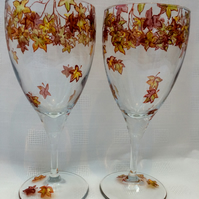 Maple Leaf Wine Glasses