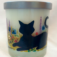 Black Cat Scented Candle In Holder