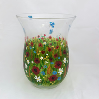 Summer Flower Vase- hand painted glass vase