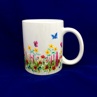 Summer floral mug, hand painted to order