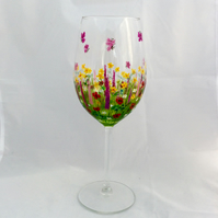 Meadow Flower Wine Glass- hand painted to order