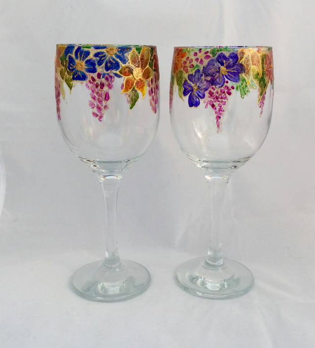 Flowery Wine Glasses -hand painted glass