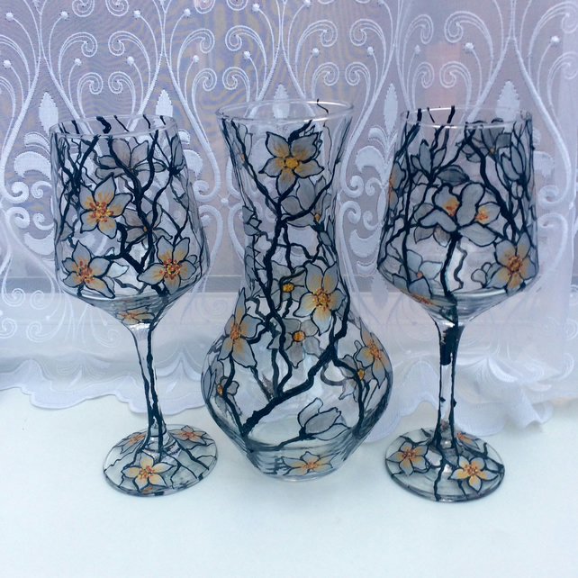 Carafe and glasses, hand painted floral glass