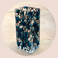 Tall Blue Floral Vase to order