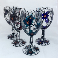 Floral wine glasses-set of four
