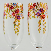 Two Floral champagne glasses to order, hand painted champagne chutes