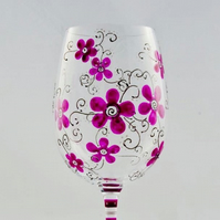 Pink Floral Wineglass, hand painted glass to order