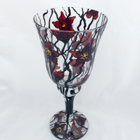 Red floral wine glass, hand painted wine glass