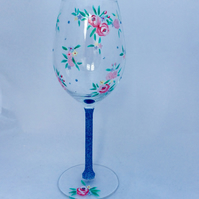 Floral wine glass with roses, hand painted wine glass