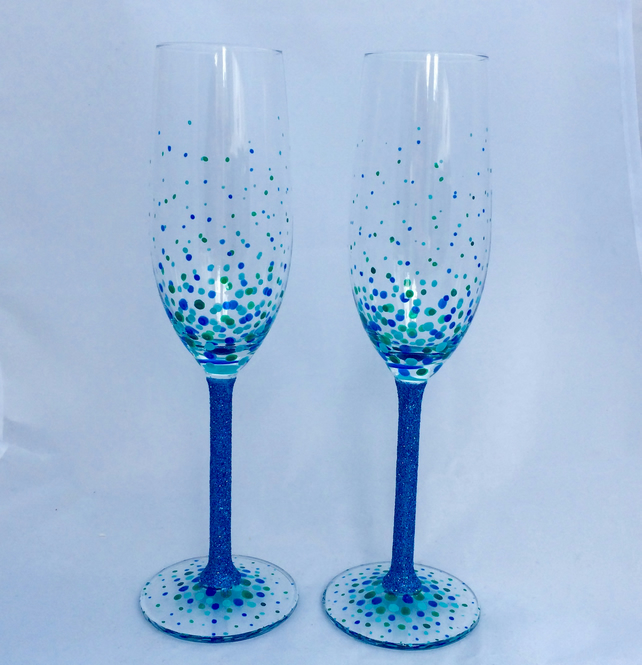 Dotty Champagne Flutes, hand painted glasses
