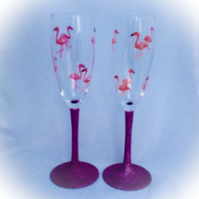Flamingo Champagne Flutes, hand painted champagne glasses