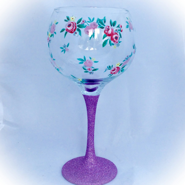 Floral Gin Glass, hand painted gin glass