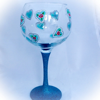 Floral Heart Gin Glass, hand painted gin glass