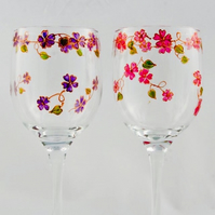 Floral glass to order, hand painted wine glasses