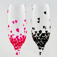 Champagne glasses with hearts, engagement or anniversary champagne flutes