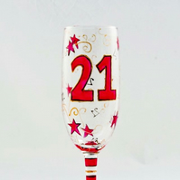 21st Birthday Glass, celebration champagne glass to order