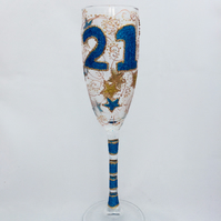 21st birthday champagne glass, custom glass