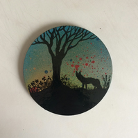 Fox at sunrise, hand painted wooden coaster