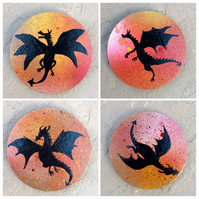 Set of dragon coasters, hand painted wooden coasters