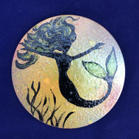 Mermaid coaster-hand painted wooden coaster