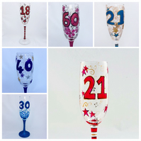 Milestone Birthday Glasses- hand painted to order