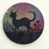 Hand painted cat coaster -wooden coaster to order