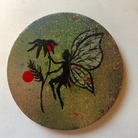 Fairy coaster-hand painted wooden coaster to order