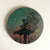 Fairy on a toadstool coaster-hand painted to ordet