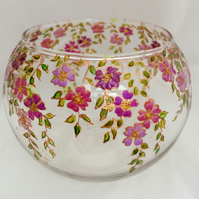 Pink floral glass bowl, candle bowl, made to order