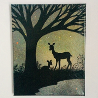 Wildlife painting, deer and faun on canvas