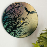 Owl in flight, original round painting on wood