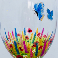 Pair of Meadow Flower Wine Glasses- hand painted to order