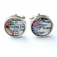 Custom Map Cufflinks - Personalised Map Cuff links for Men