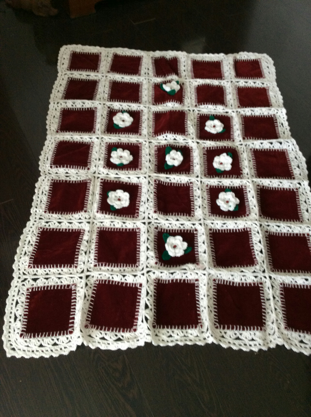 Red velvet quilted and crochet infusion throw