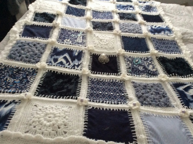 Quilted and crochet infusion throw