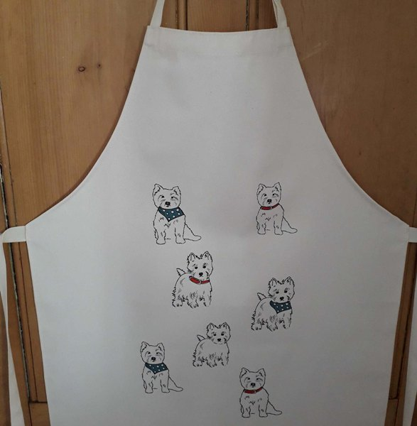 Apron dog themed featuring westies
